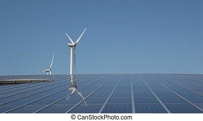 солнечный, панель, массив, and, ветер, энергия