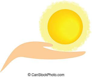 солнце, абстрактные, -, держа, рука
