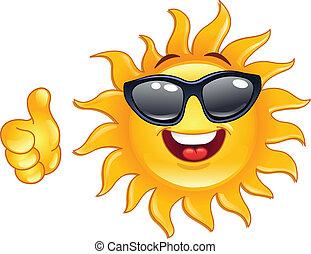 солнце, большой палец, вверх