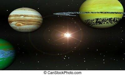 солнце, вокруг, planets