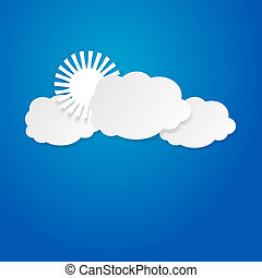 солнце, над, clouds