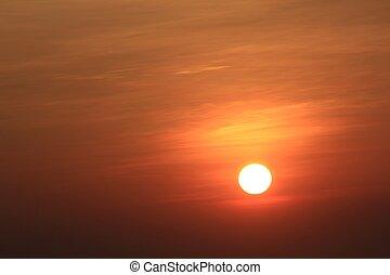 солнце, показ, за, восход
