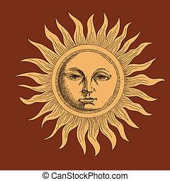 солнце, рисование