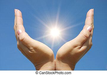 солнце, трогательный, женский пол, руки