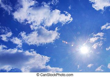 солнце, and, синий, небо