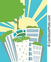 солнце, buildings, rays, зеленый, иллюстрация