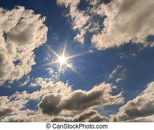 солнце, clouds, задний план