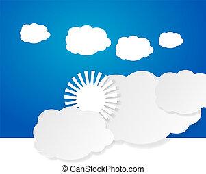 солнце, clouds, над
