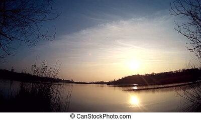 солнце, timelapse, отражение, озеро