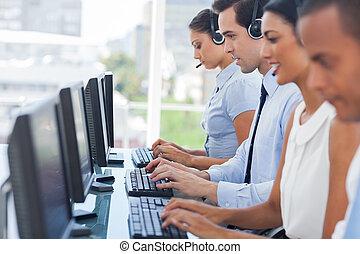 сотрудников, computers, вызов, за работой, центр
