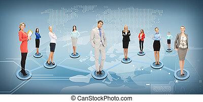социальное, сеть, бизнес, или