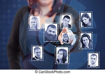 социальное, сеть, концепция
