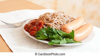 спагетти, макаронные изделия, with, sausages