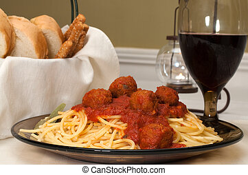 спагетти, and, meatballs