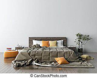 спальня, 3d, иллюстрация, interior.
