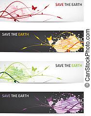 спасти, наш, земля, -, цветочный, дизайн, banners