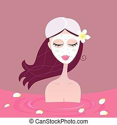 спа, девушка, расслабиться, в, цветок, красный, ванна