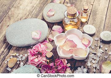 спа, концепция, море, поваренная соль, and, массаж, oil.