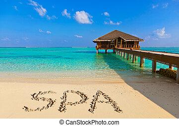 спа, пляж, слово