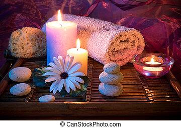 спа, свеча, камень, губка