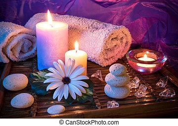 спа, свеча, камень, лед