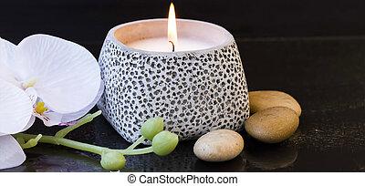спа, свеча, настройка, with, орхидея, and, массаж, stones