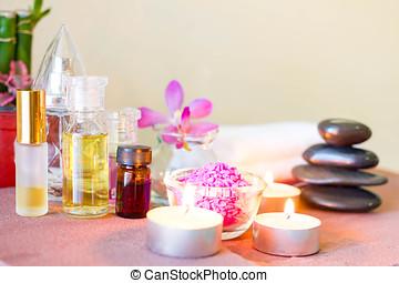 спа, состав, with, свеча, pebbles, and, аромат, oil.
