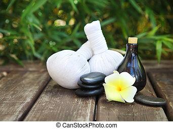 спа, тема, objects, with, frangipani, цветок
