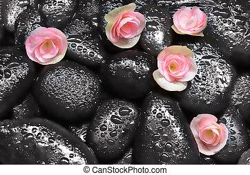 спа, concept., stones., черный, цветы