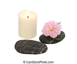спа, stones, with, свеча