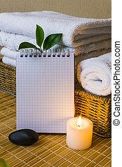 спа, with, towels, and, свеча