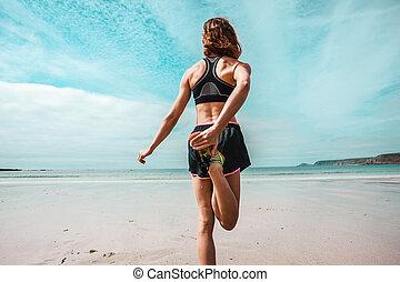 спортивное, женщина, пляж, молодой, растягивание
