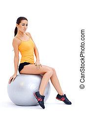 спортивное, женщина, relaxing, на, фитнес, мяч