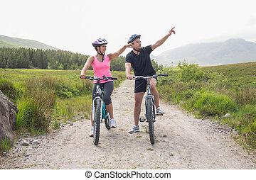 спортивное, поездка, пара, велосипед