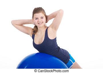 спортсменка, дела, упражнение, на, мяч