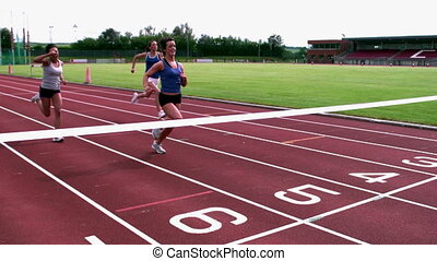 спортсмены, линия, пересечение, конец