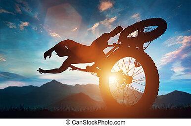 спортсмен, дела, велосипед, stunts, в, mountains.