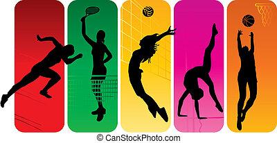 спорт, silhouettes