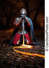 средневековый, khight