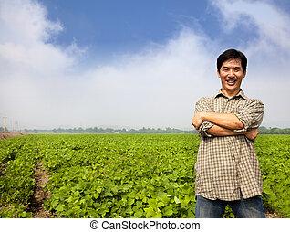 среднего возраста, азиатский, успех, фермер