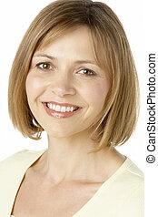 средний, улыбается, женщина, aged