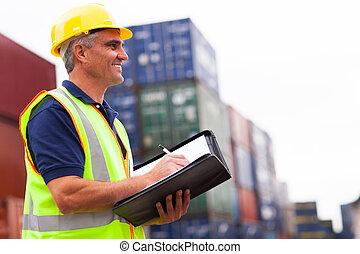 средний, aged, гавань, работник