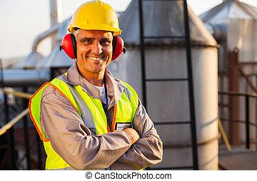 средний, aged, масло, химическая, промышленность, работник