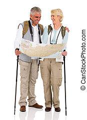средний, aged, пара, checking, направления, на, , карта
