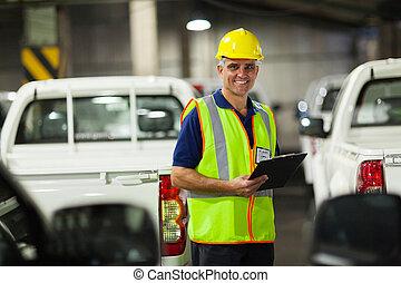 средний, aged, перевозка, компания, работник