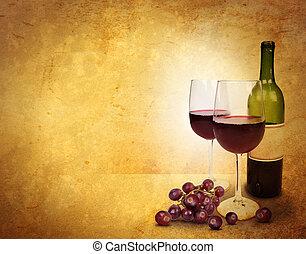 стакан, вино, задний план, праздник