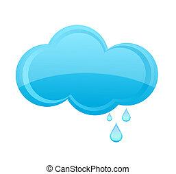 стакан, дождь, облако, знак, синий, цвет
