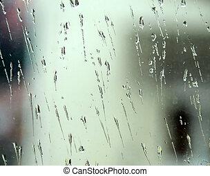 стакан, дождь