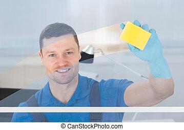 стакан, работник, уборка, тряпка