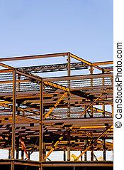 стали, здание, рамка, строительство